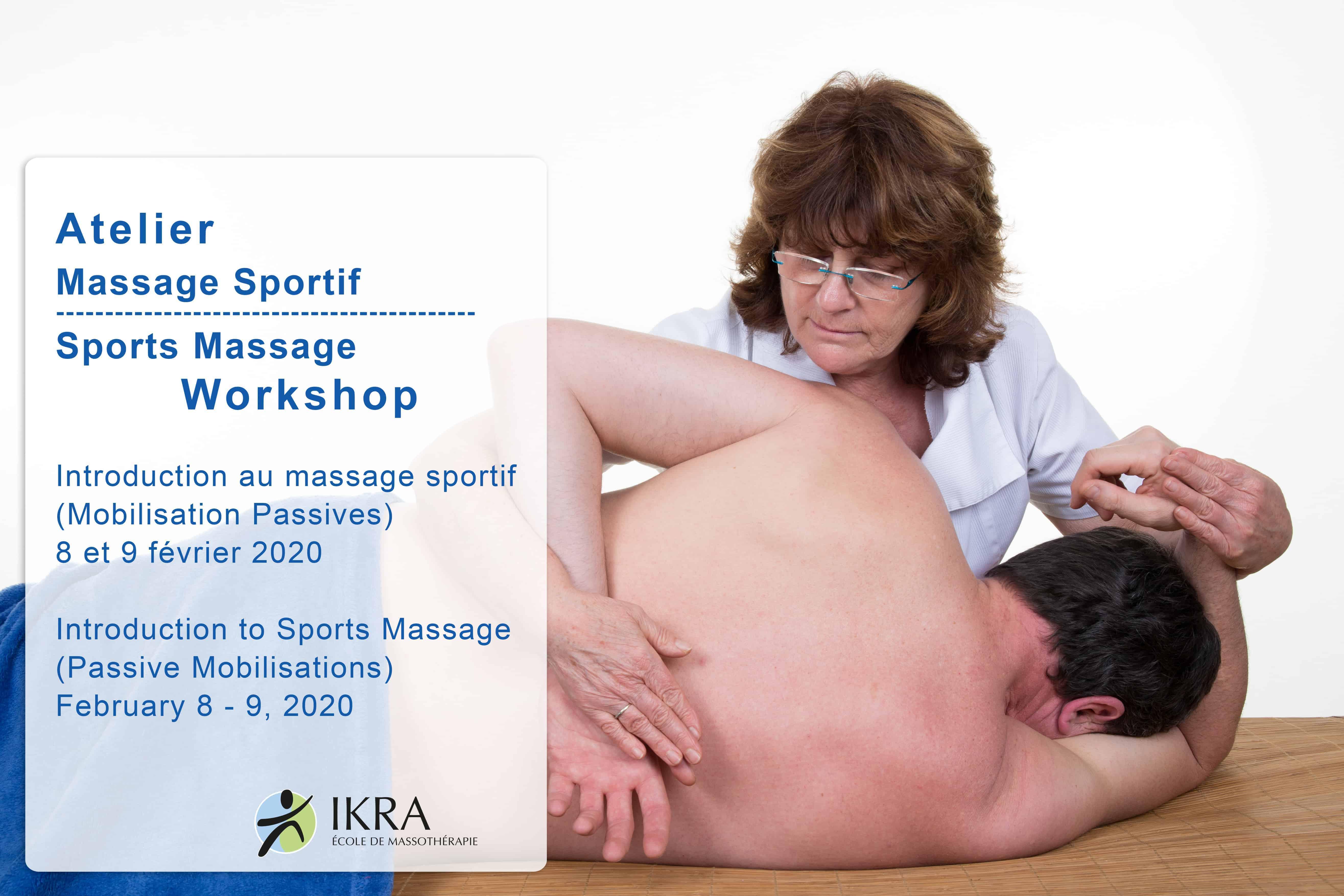 Sports massage workshop promotional banner