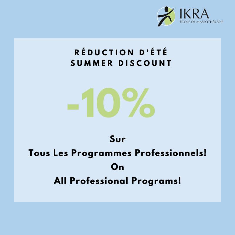 -10% de réduction sur tous les programmes professionnels profitez-en