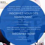 Dernier rappel, le cours de massage suédois à temps plein débute le 1er juin 2020