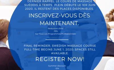Final reminder, Swedish massage course full time begins June 1, 2020.