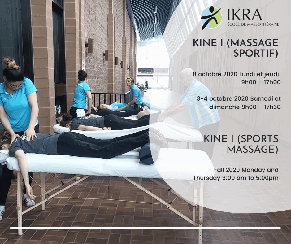 cours de Kiné I (massage sportif)