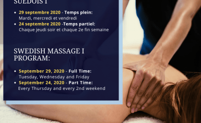 Reminder: Our fall courses – Swedish massage program I will begin soon