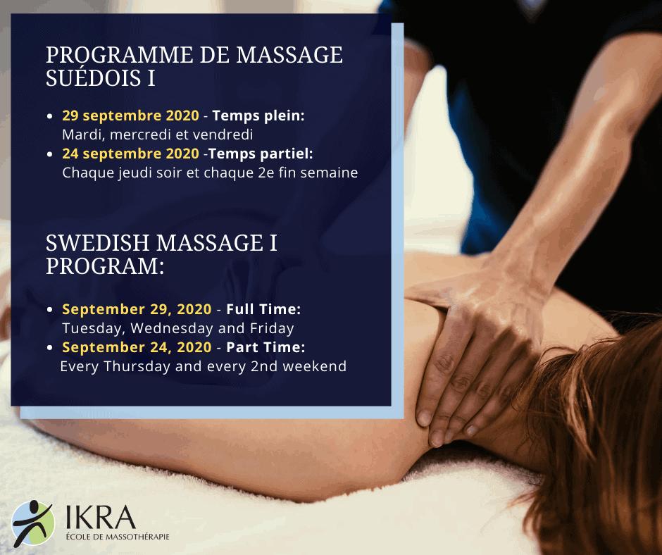Rappel: Nos cours d'automne - programme de massage suédois I