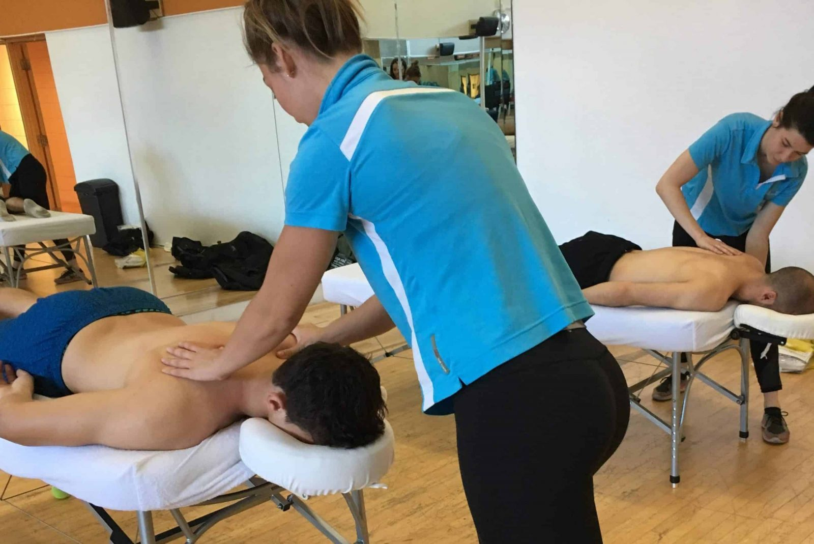 Students in a massage class