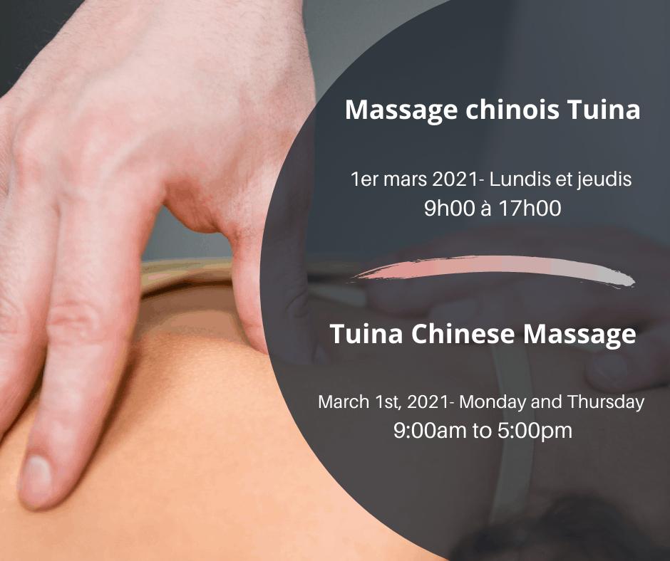 Massothérapeute donnant un massage Chinois
