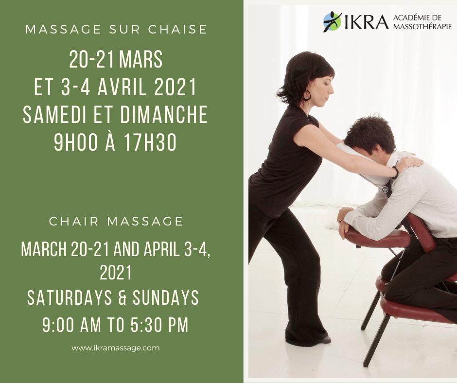 Un jeune homme reçoit un massage sur chaise